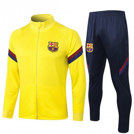 Тренировочный костюм Барселоны на молнии 2020-2021 желтый
